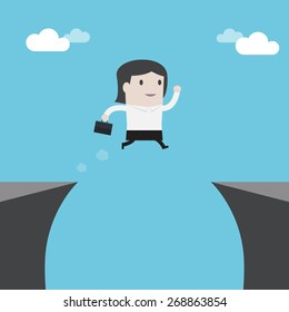 Businesswoman jumping over the cliff - Vector