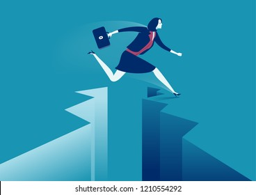 Businesswoman jumping over gap. Concept business vector illustration