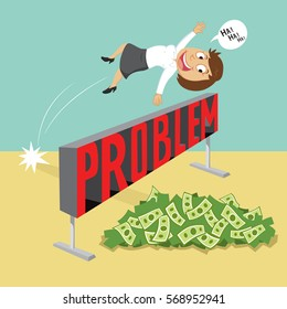 Businesswoman jumping over a hurdle obstacle with word problems, vector illustration cartoon