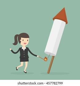 Businesswoman launching firework rocket. Business concept cartoon illustration.