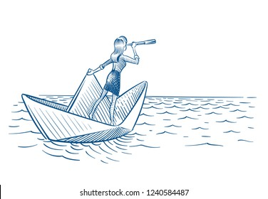 Businesswoman leader. Woman with telescope sailing on paper boat. Future career vision and leadership vector doodle concept