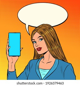 A businesswoman leads a stream on the phone. Pop art retro vector illustration vintage kitsch 50s 60s style