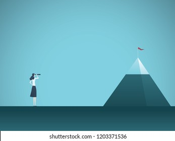 Businesswoman looking at mountain vector concept. Symbol of business goals, objectives, opportunities and vision. Eps10 vector illustration.