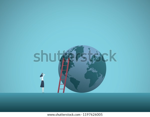 Businesswoman looking at the top of the world vector concept. Symbol of ambition, success, motivation, achievement, career growth. Eps10 vector illustration.