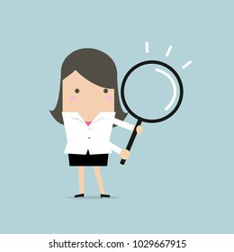 Businesswoman with a magnifying glass. vector