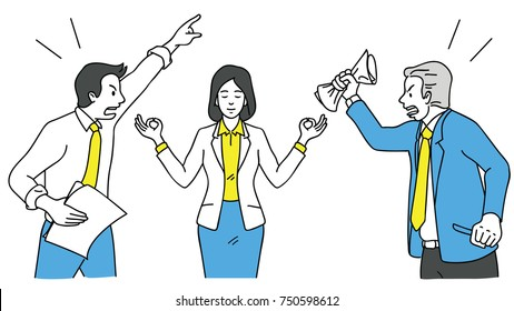 Businesswoman making meditation, lotus finger gesture, to concentrate her mind during her colleagues, coworkers and friends keep shouting, arguing, fighting. Outline, linear, hand drawn sketch design.