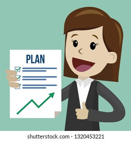 Businesswoman or manager has a plan. Job is finished successfull