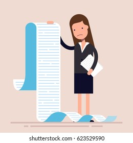 Businesswoman or manager, hold a long list or scroll of tasks. or questionnaire. Woman in a business suit. Flat character. Vector illustration