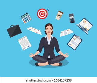 businesswoman meditating, time management, stress relief and problem solving concepts, man thinking about business in lotus pose. Vector illustration in flat style