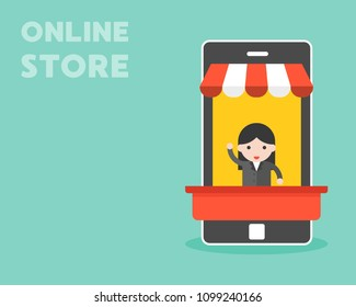 Businesswoman in mobile stall, online store flat design concept