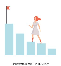 Businesswoman Moving Up to Her Goal on Column of Columns, Business Career Development Vector Illustration