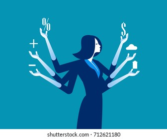 Businesswoman and multitasking. Concept business vector illustration.