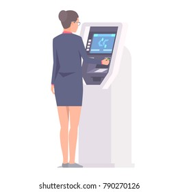 Businesswoman near ATM with credit card in hand. Isolated vector illustration