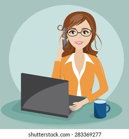 businesswoman with notebook and take a phone character