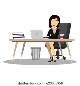 businesswoman in office room. Business cartoon characters.