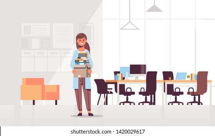 businesswoman office worker holding box with stuff things new job business concept creative co-working center modern workplace office interior flat full length horizontal