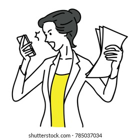 Businesswoman, office worker, shocked and surprised with smartphone, having problem and trouble. Outline, linear, thin line art, hand drawn sketch design, simple style.