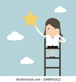Businesswoman on a ladder grab star in the sky. vector