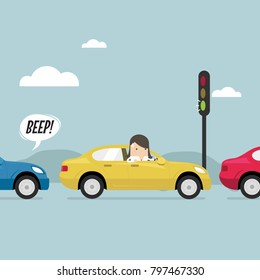 Businesswoman on the road with traffic jam, Green traffic light, honk a horn. vector