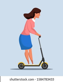 Businesswoman on scooter rushing to work cartoon. Worried woman office worker in formal clothes hurrying to job. Deadline and time management. Fast eco transportation. Vector flat illustration - Shutterstock ID 1584783433