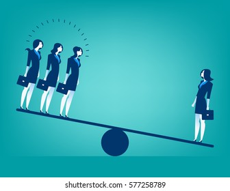 Businesswoman on Seesaw. Concept business illustration. Vector flat