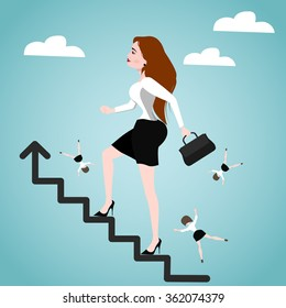 Businesswoman  on stairs. Success concept