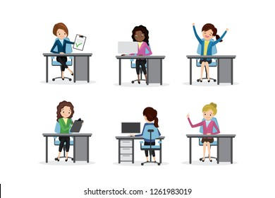 Businesswoman on workplace,successful female characters in different poses - front and back views,isolated on white background,flat vector illustration