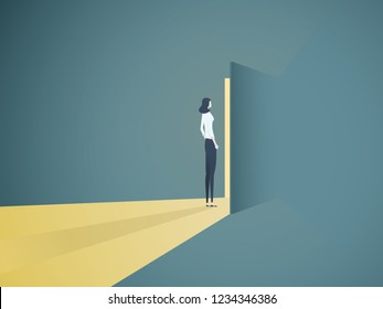 Businesswoman opening door vector concept. Symbol of new career, opportunities, business ventures and challenges. Eps10 vector illustration.