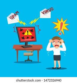 Businesswoman panic when computer attack from virus, illustration vector cartoon