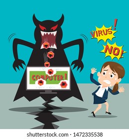 Businesswoman panic when computer virus and spam hackers attack, illustration vector cartoon