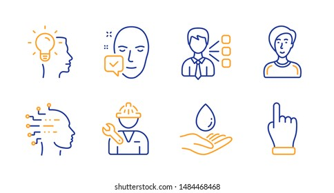 Businesswoman person, Repairman and Idea line icons set. Face accepted, Water care and Third party signs. Artificial intelligence, Click hand symbols. Female user, Repair service. People set. Vector