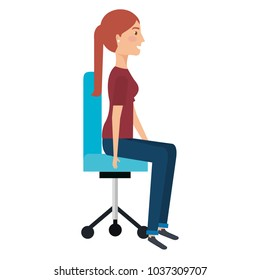 businesswoman posing on office chair