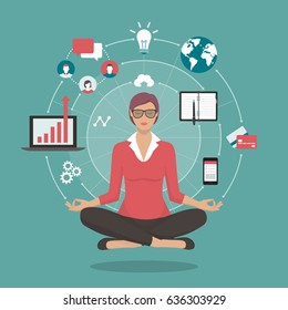 Businesswoman practicing mindfulness meditation, she is clearing her mind, releasing stressful thoughts and expressing her potential; yoga and self consciousness concept