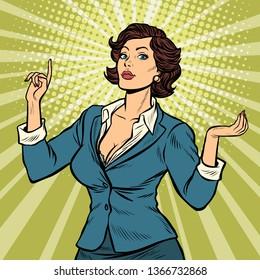 businesswoman presentation gesture. Pop art retro vector illustration vintage kitsch 50s 60s