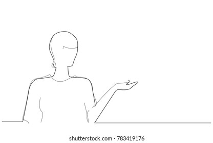 Businesswoman presenting with hand isolated on white background. For web site, product, ad, marketing, presentation materials and advertising. Creative modern concept, vector illustration