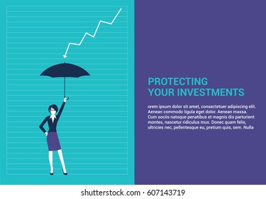 Businesswoman protecting her finances with an umbrella. Web page layout. Vector illustration finances concept