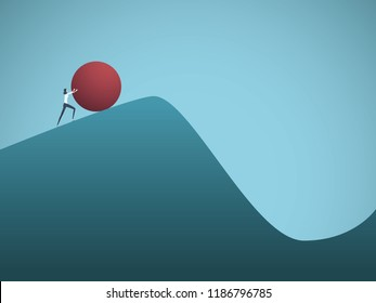Businesswoman pushing boulder uphill vector concept of Sisyphus. Symbol of hard work, futile effort, strength, struggle, challenge but also motivation and ambition. Eps10 vector illustration.