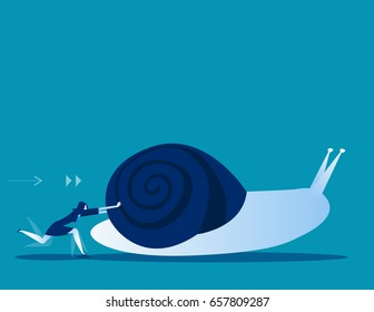 Businesswoman pushing snail. Concept business vector illustration.