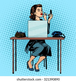 Businesswoman putting on lipstick in the office for work space. Beauty and makeup pop art retro style