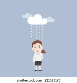 Businesswoman in rainy day - Vector