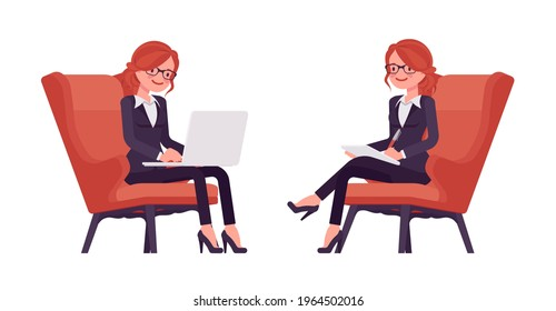 Businesswoman, red haired office worker sitting working with laptop. Manager in smart formal wear, administrative person, employee. Vector flat style cartoon illustration isolated, white background