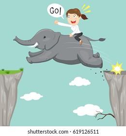 Businesswoman riding on elephant jump across the cliff, vector illustration cartoon