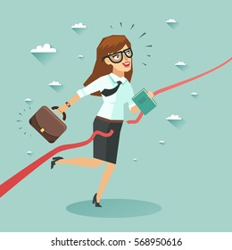 Businesswoman run and cut the red ribbon to begin a new business venture. Colorful vector illustration in flat style