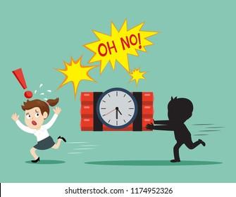 Businesswoman runaway from hurry races clock bomb, illustration vector cartoon