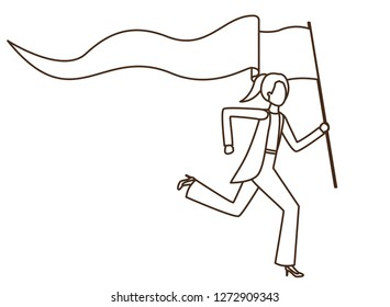 pull push concept education conceptual drawing stock vector royalty Extendable Pole businesswoman running with banner avatar character