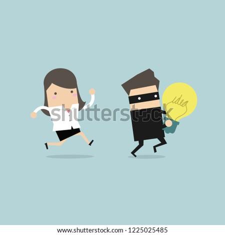 Businesswoman Running Chasing Thief Stolen Idea Stock Vector