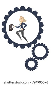 Businesswoman running in gears. Hurry up for success.