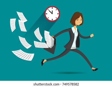 Businesswoman running in a hurry holding briefcase and papers flying around, business concept in very busy or a lot of work to do or late to job. Vector character in flat style