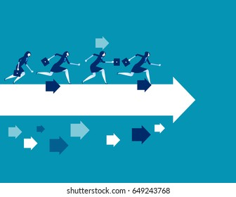 Businesswoman running toward. Concept business vector illustration.