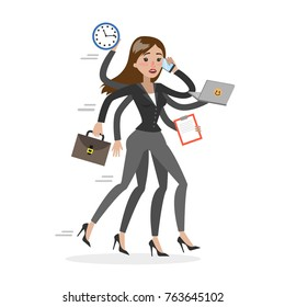 Businesswoman in a rush with six hands. Running woman in stress.